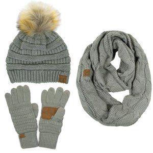 C.C 3pc Knit Warm Pom Beanie Gloves Scarves Set